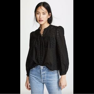 NWT $92 Madewell Eyelet Double Tie Peasant Top XS